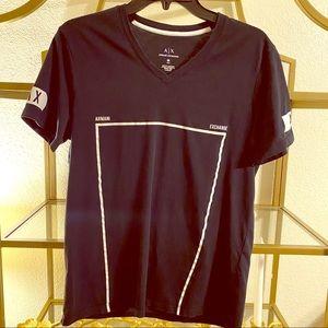 Armani Exchange v neck black t shirt